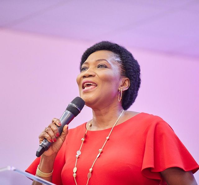 Picture of Funke Felix-Adejumo speaking about marriagein a conference